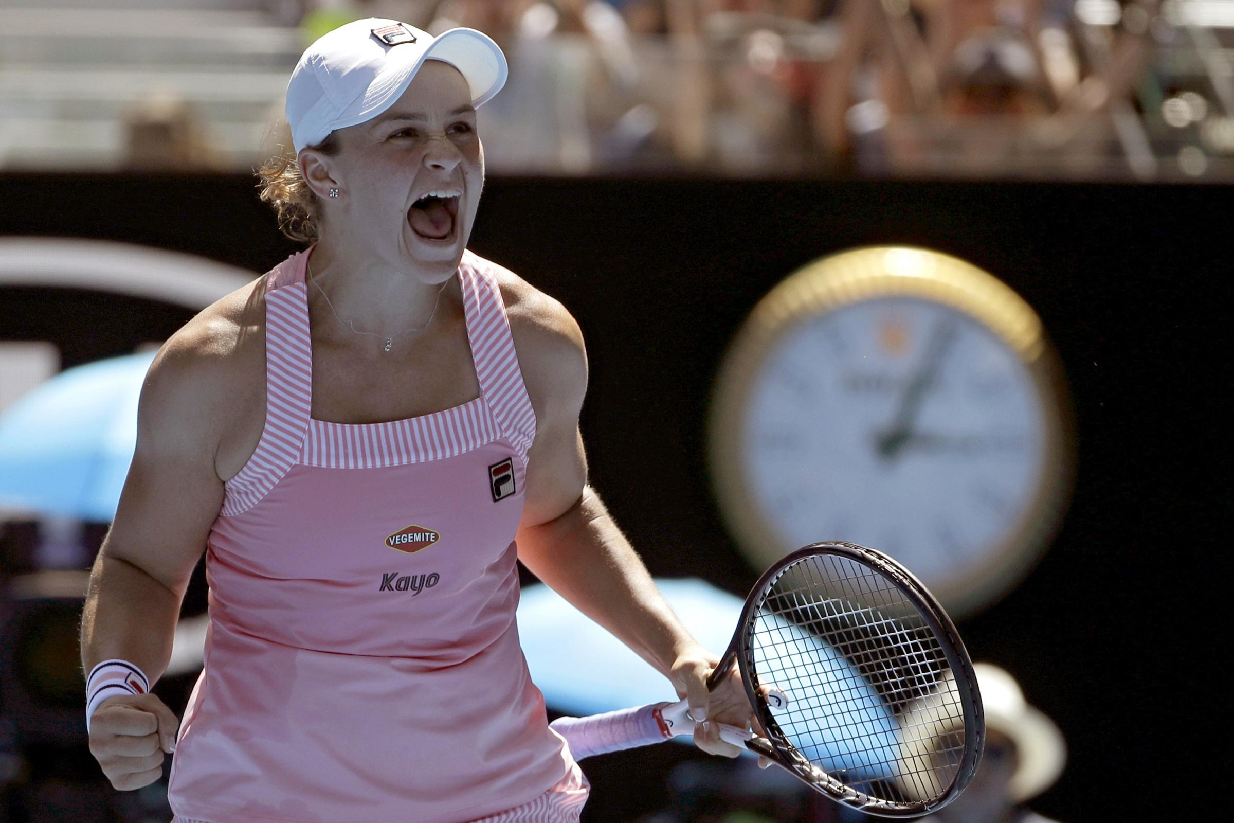 Ashleigh Barty celebrates her victory over Maria Sharapova