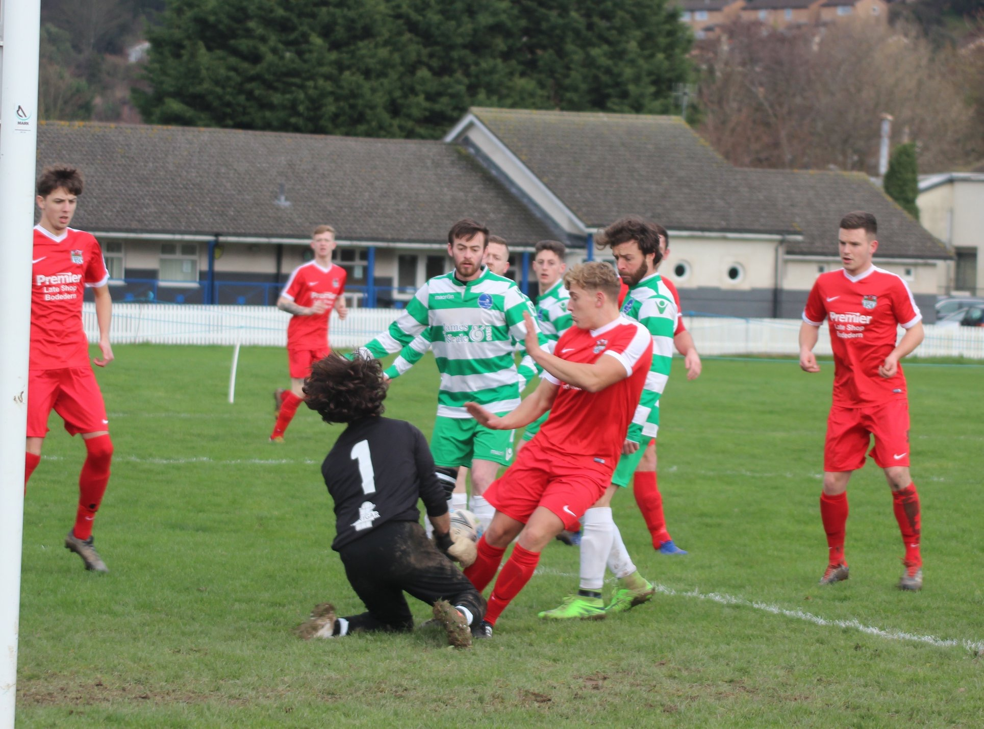 Action from Bodedern Athletic's victory at Mochdre Sports (Photo by Nigel Williams)