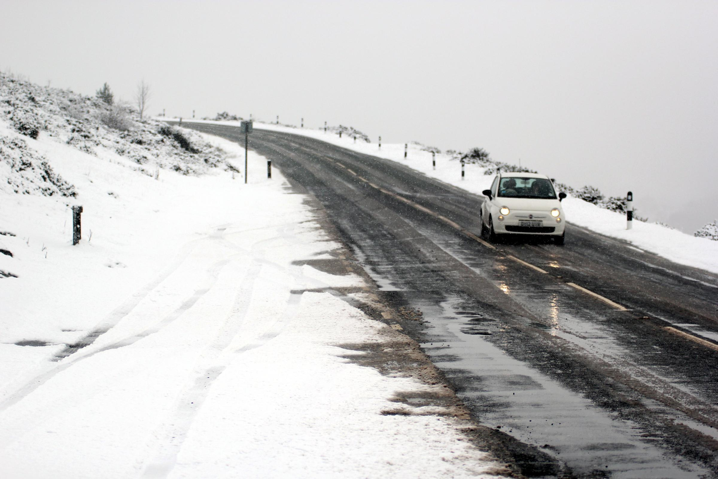 Library image of snow at Horseshoe Pass, near Llangollen