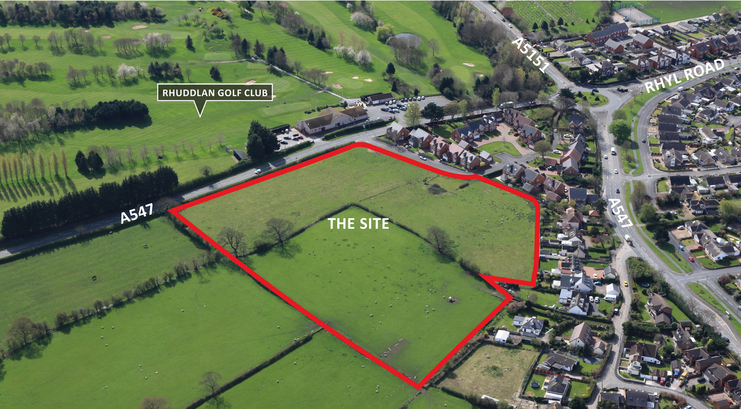An aerial view of the site near Rhuddlan Golf Club which is earmarked for development