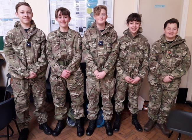 The five members of St Brigid's Combined Cadet Force