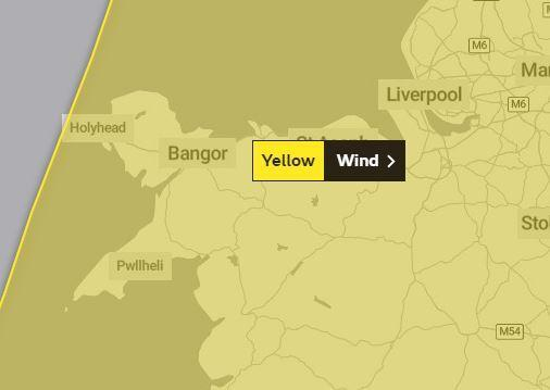 A yellow weather warning for strong winds has been issued for Sunday afternoon. Picture: Twitter/ @metoffice