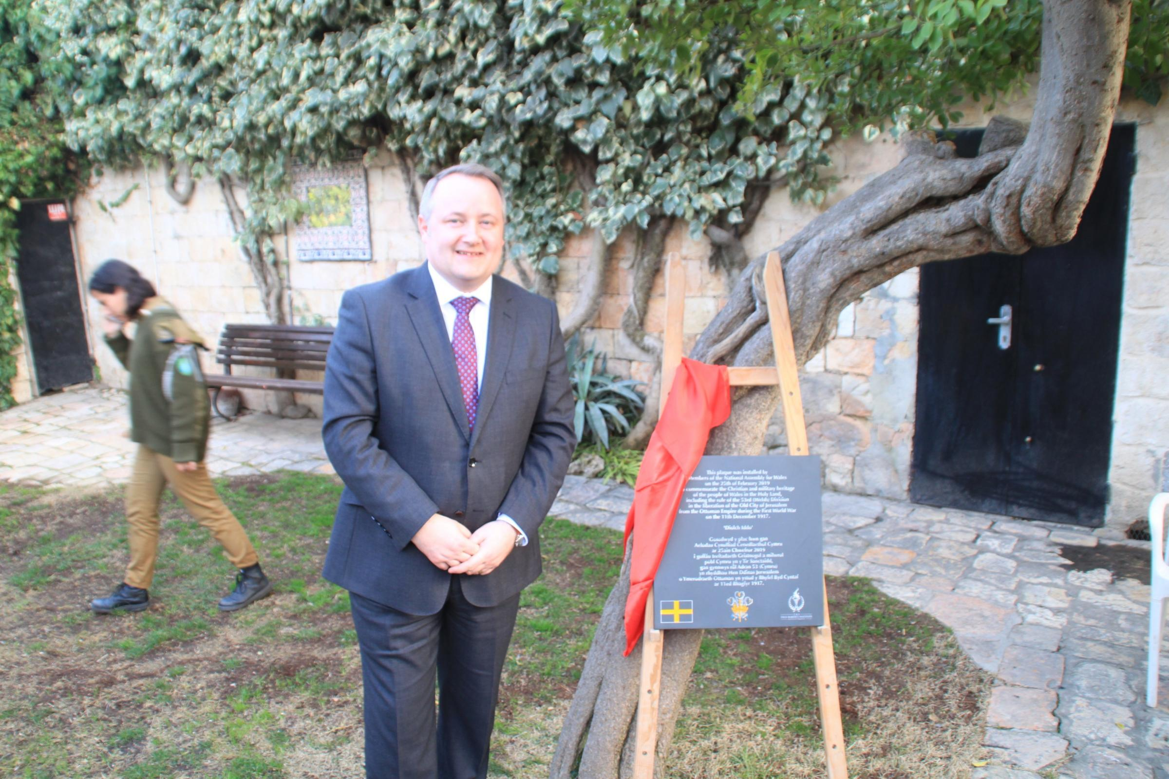 Clwyd West AM Darren Millar unveils a plaque in the Old City of Jerusalem