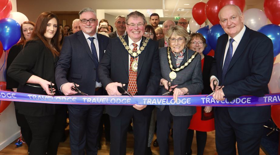 Hotel Manager Sophie Owen, David Handyside-Cook, Travelodge District Manager for Wales, chair of Denbighshire County Council, cllr Peter Scott, mayor of Rhyl Cllr Mrs Win Mullen-James and MP for the Vale of Clwyd, Chris Ruane