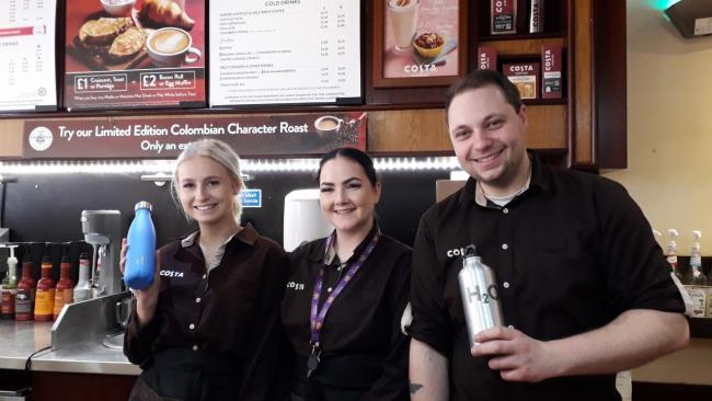 Costa Coffee on Rhyl High Street is one of the businesses taking part in the Refill scheme