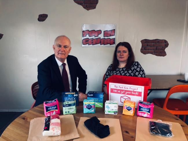 MP Chris Ruane with Graunya Bean of the Red Box Project