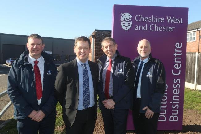 Colin Rutter (second left) Cheshire West and Chester Council Asset and Development Manager at Duttons Business Centre, Northwich with L-R: Graham Dickson, Chris Wynne and Alan Davies, Wynne Construction, the North Wales company who built the development