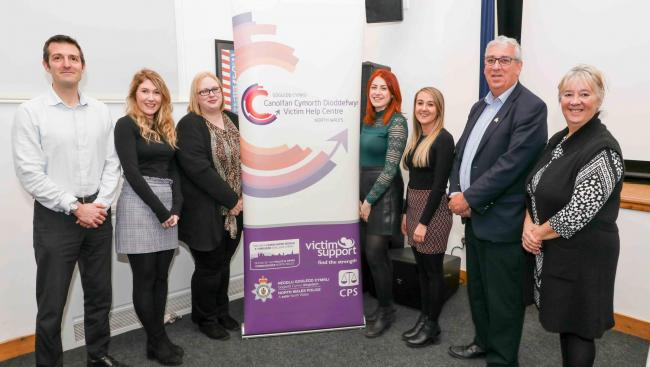Matthew Hazelwood (modern slavery caseworker), Elin Davies (senior health worker), Emma Williams (wellbeing caseworker), Jessica Rees (hate crime manager), Sioned Jacobsen (operations manager), Arfon Jones (North Wales police and crime commissioner)