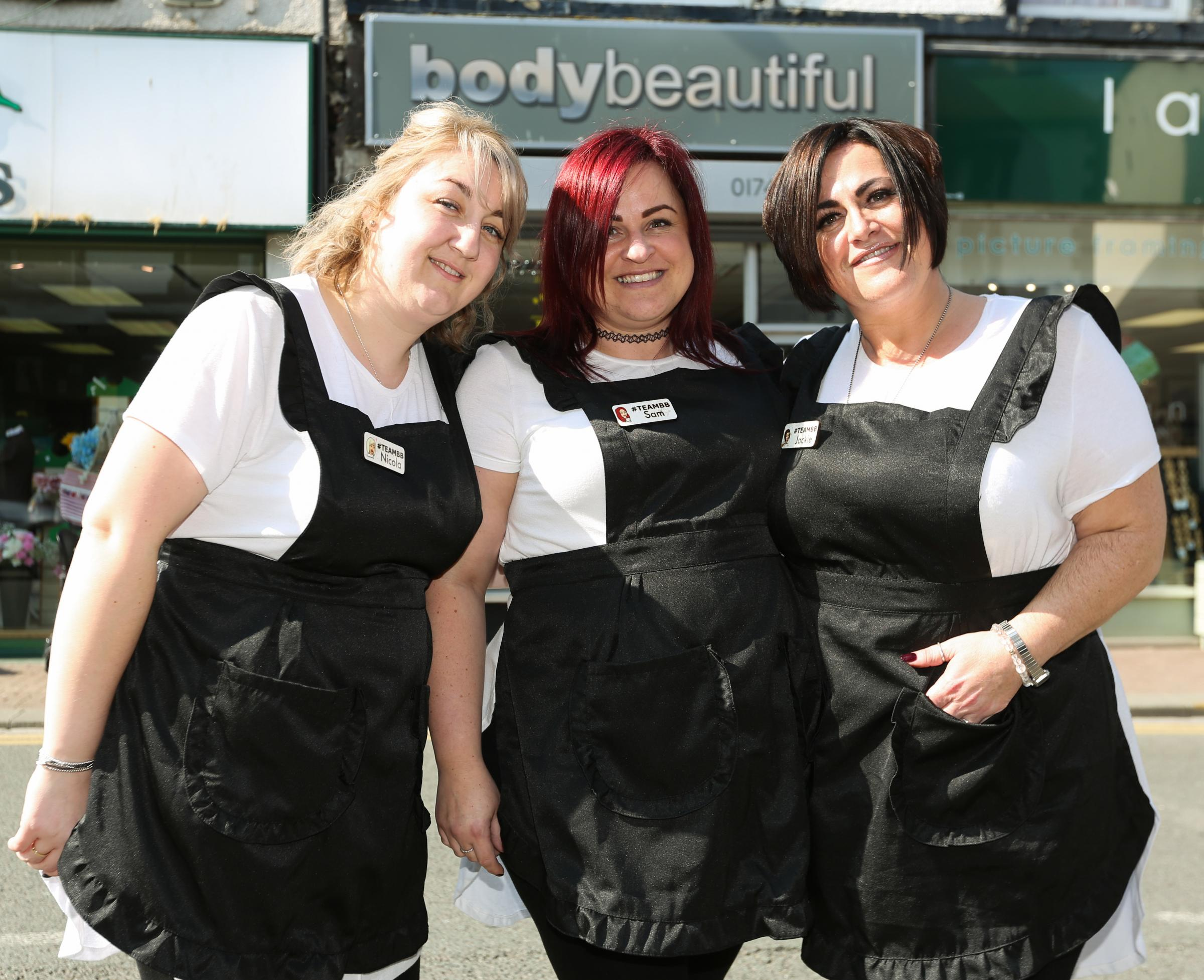 Samantha Dyche, Nicola Hall and Jackie Lowry of Body Beautiful on Wellington Road, Rhyl, are finalists at the Welsh Hair and Beauty Awards. Picture: Geoff Abbott GA110419G