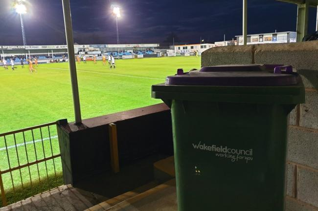 If anyone is missing a wheelie bin in Wakefield, I've found it here at Rhyl Football Club, Wales. Picture: Joseph Gibbons/Twitter