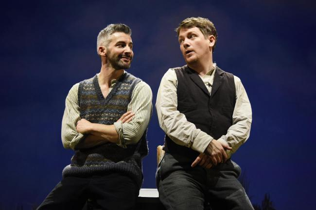 Kevin Trainor as Charlie Conlon and Owen Sharpe as Jake Quinn in Stones in his Pocket. Picture: Nobby Clark