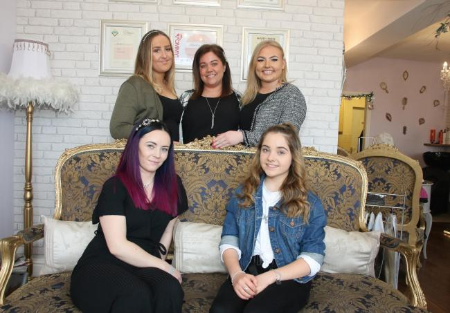 Most Wanted Salon of the Year fianlists Holly Taylor, Kim Roberts, Ellie Piercy, Naomi Mcgregor and Tanisha Roberts. Picture: Kerry Roberts