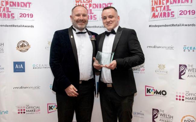 Pete Fletcher and Ed Furber with their new award at the ceremony in Cardiff