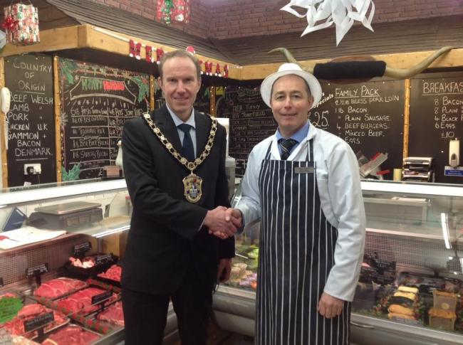 Butcher Nick Bickerstaff with outgoing mayor Cllr Anton Sampson