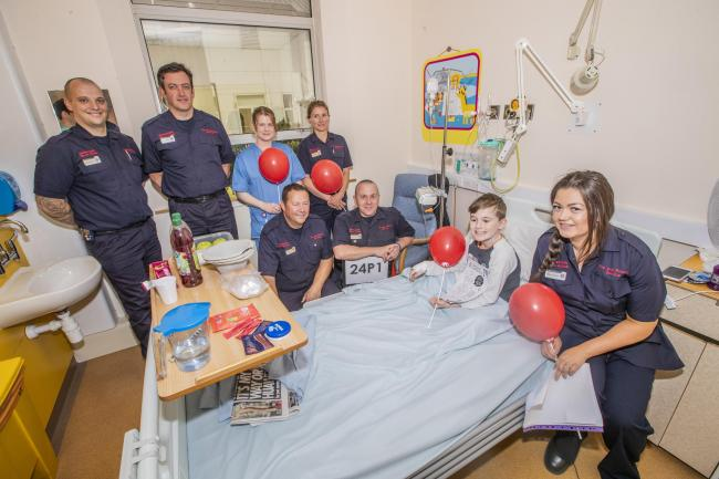 North Wales Fire and Rescue Service crew visits the Children's wards at Ysbyty Glan Clwyd.