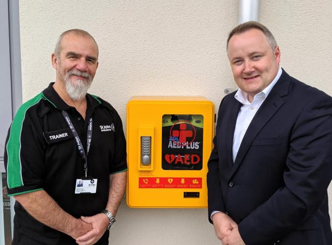 Clwyd West AM Darren Millar with Geoff Gower of St John's Ambulance at their new offices and training centre on the North Wales Business Park in Abergele