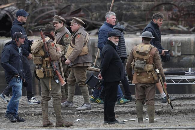 Director Sam Mendes on the set of his new film 1917 at Govan Docks in Glasgow