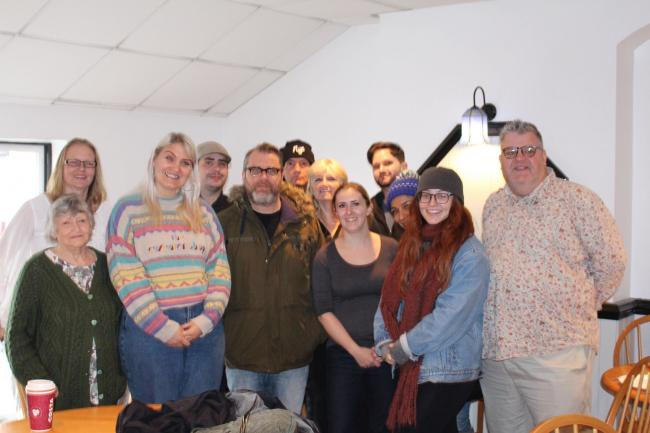The cast of Prestatyn based players at the recording of Faded Glory at Wes & Rita's Fish Lounge in Rhyl